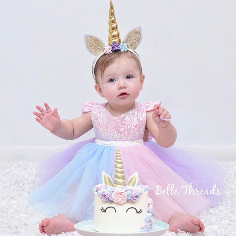 2dc106d9ec7 Unicorn Rainbow Dress Unicorn First Birthday Dress Unicorn