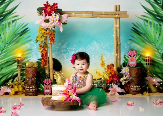 Luau First Birthday Outfit Girl Girls floral dress 1st birthday girl outfit pineapple 1st birthday dress aqua floral