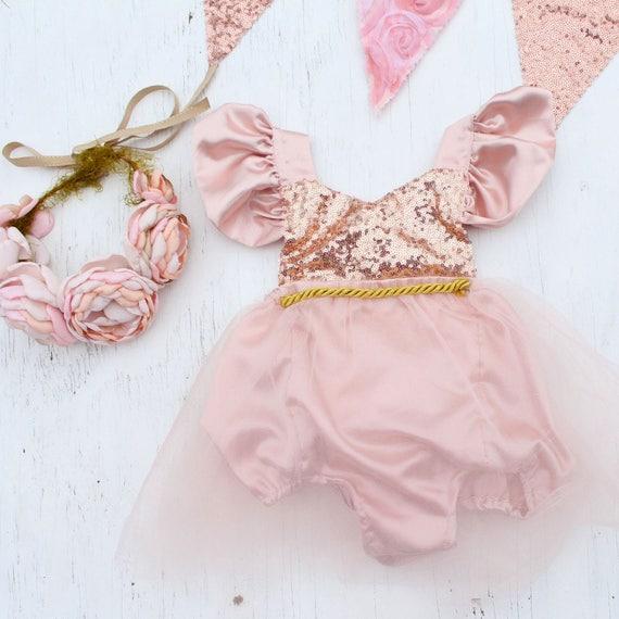 71922c40e773 Pink Birthday Romper Blush Rose Gold Birthday Tutu Outfit