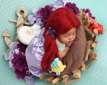 Newborn Princess Outfit, Mermaid Newborn Photo Outfit, newborn girl coming home outfit, Photo Outfit Prop, Newborn Princess Baby Dress