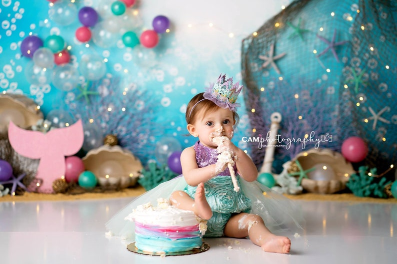 d1b001ad9aa Mermaid First Birthday Dress Little mermaid birthday outfit