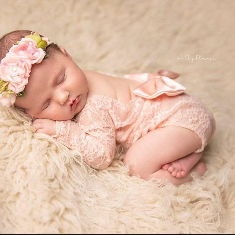 4635b529f29 Newborn Girl Lace Romper Set Newborn Photo Outfit Newborn