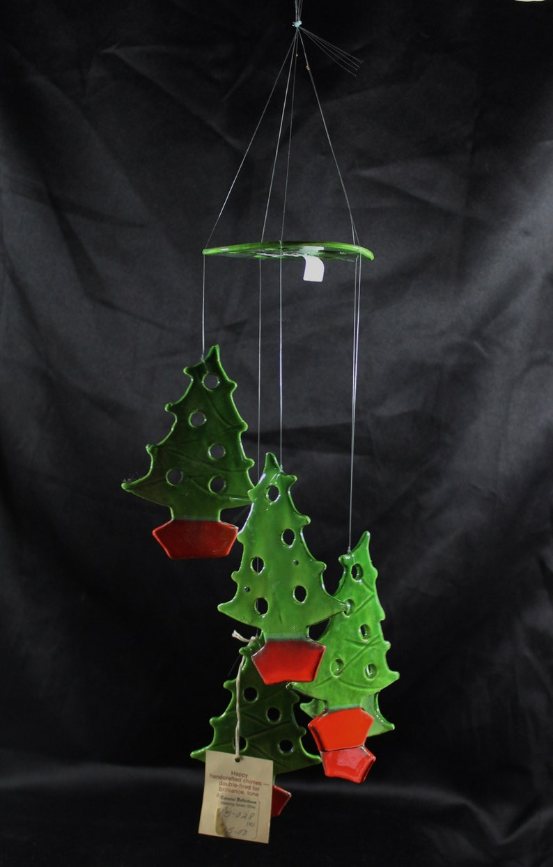 Christmas Tree Ceramic Wind Chimes Handmade Green and Red Glaze Linsong Chimes 1960/'s Indoor Outdoor Holiday Music Mobil # 2019022736