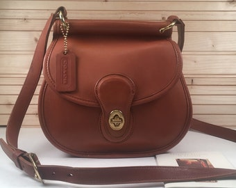 f01a1e28e1b4 RARE Vintage Coach Bag   Vintage Coach British Tan Post Pouch Crossbody Bag    Coach Bag Style 9906