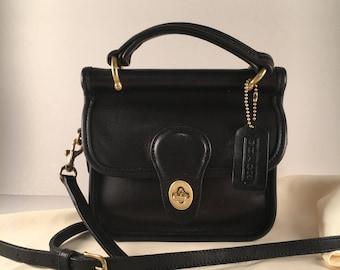 f0c54f3fe79 Rare Vintage Coach Mini Winnie Station Bag   Coach Bag   Coach Purse   Coach  Style 9023   Black Quality Leather   Solid Brass Hardware