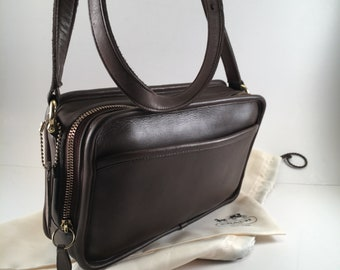 8c8090eeafce Coach Bag   Vintage Coach Bag   Brown Leather Classic Multi Zip Crossbody  Bag   Coach Style 9974   Coach Purse