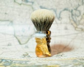 Handmade shaving brush with transparent resin, wood and foil in 24 carat gold, limited edition
