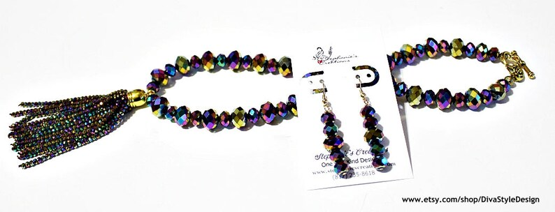 Crystal Tassel Necklace Purple Tassel Necklace Set Crystal Necklace Tassel Crystal Necklace Iridescent Peacock Blue Tassel Necklace