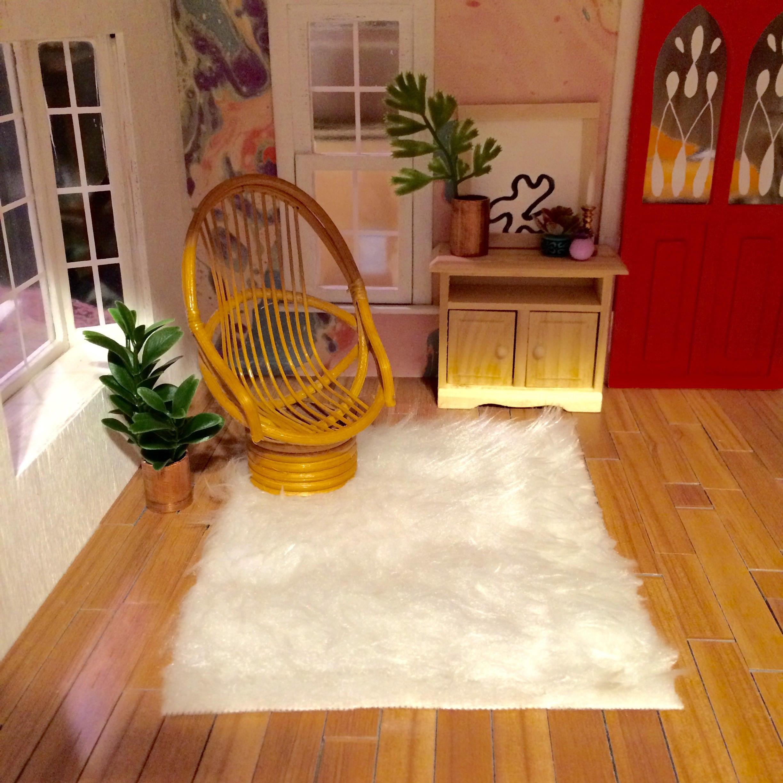 Mini Faux Fur White Rug