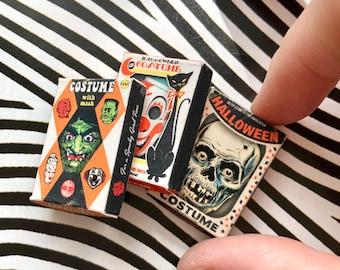 Dollhouse Miniature Vintage Style Spooky Halloween Boxes
