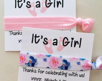 Baby Shower Favors, Thank You Gift, Baby Shower Hair Tie Favors, Gift Tag, Favors For Guests, It's A Girl Baby Shower, Gender Reveal