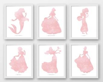 Disney wall art Set of 6 PRINTABLE ART Princess prints Pink Belle Cinderella Snow White Jasmine Aurora Ariel Princess decor  sc 1 st  Etsy & Disney princess art | Etsy