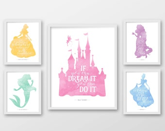 Disney Wall Art, Set Of Five, PRINTABLE ART, Disney Quotes, Ariel,  Rapunzel, Castle, Cinderella, Belle, Princess Decor, Princess Wall Art.