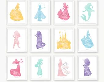 Disney Wall Art, Set Of Twelve, PRINTABLE ART, Disney Quotes, Pink,