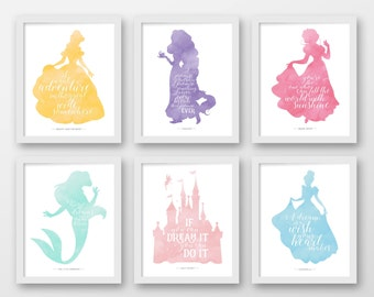 Superior Disney Wall Art, Set Of Six, PRINTABLE, Disney Quotes, Pink, Grey