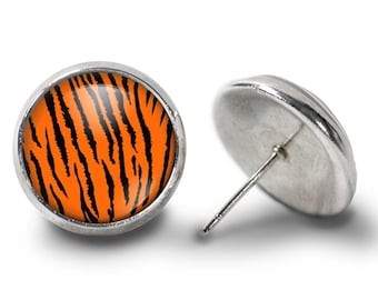 Tiger Stripe Earrings - Tiger Striped Earrings - Tiger Earrings - Animal Print Jewelry for Her (Pair) Lifetime Guarantee (E0829)