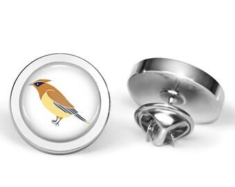 Waxwing Pin - Waxwing Bird Brooch - Waxwings Jewelry (Lifetime Guarantee) B0004