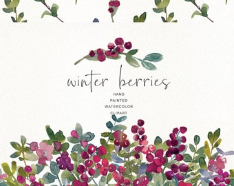 899b9dc865f Watercolor Winter Berry Clipart - WinterBerries Clipart - Pattern Drop  Wreath and Individual Elements - Commercial Use