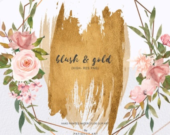 75b79931240e Watercolor Gold Geometric Frames - Blush and Gold Brush Strokes - Gold  Frames Resources for Stationery and Invite Designs