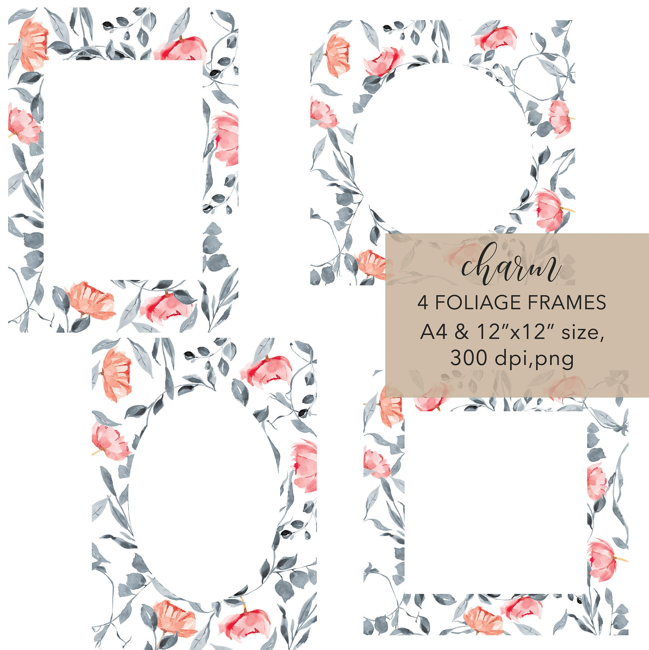 Watercolor Gray Leaves Blush Flowers Foliage Frames Etsy