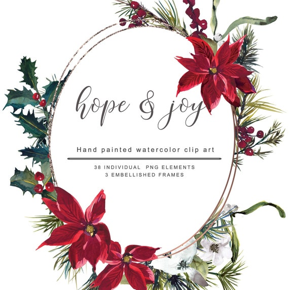 Christmas Frame Clipart.Watercolor Poinsettia Christmas Frame Clipart Floral Holy Stems Clipart Geometric Frames Separate Elements Commercial Use Hope Joy