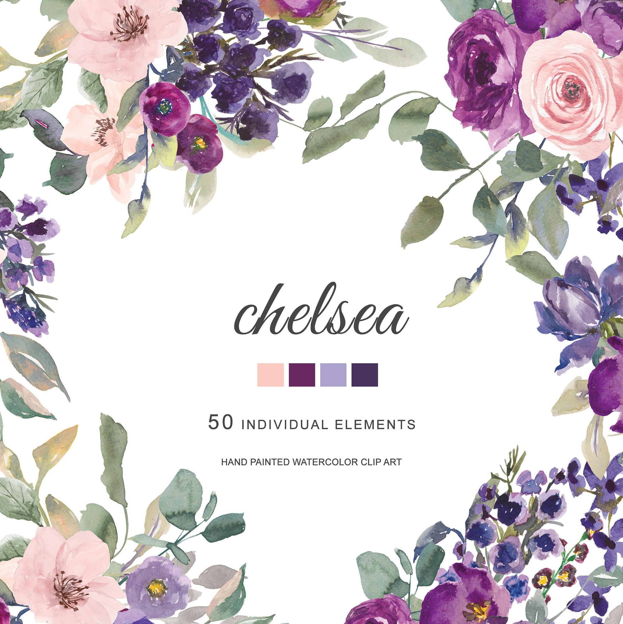 Watercolor Plum Lavender Blush Pink Dark Purple Flowers Etsy
