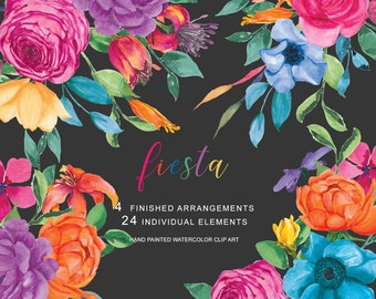 Colorful Watercolor Floral Clipart Hand Painted Flowers Floral Arrangements Mexican Flowers Clip Art Commercial Use  S32 Fiesta