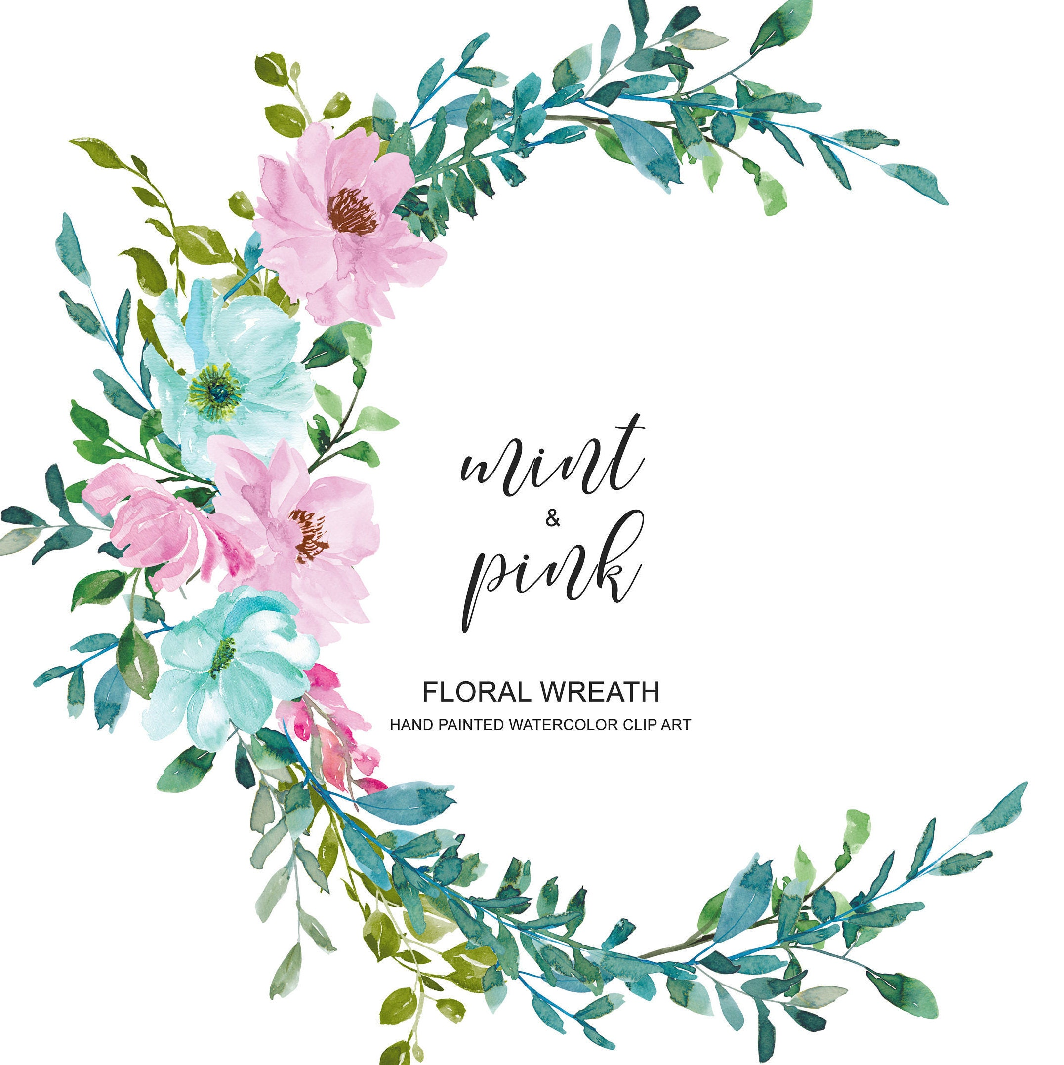 Watercolor Pastel Mint And Pink Flowers Wreath Floral Wreath Etsy