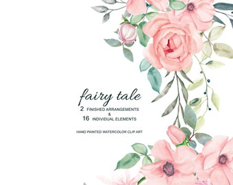 Fairy Tale* Blush Pink Watercolor Flowers Clipart Separate Elements Rose Peony Flowers Nursery Decor #A15