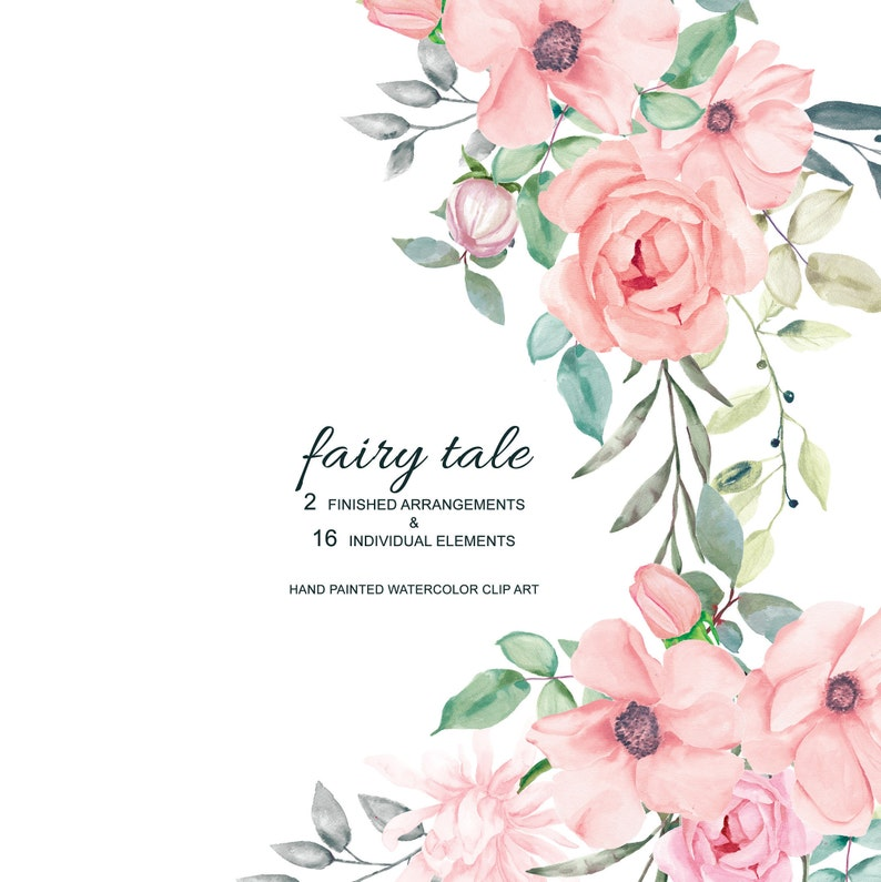 Blush Pink Watercolor Flowers Clipart Separate Elements Rose image 0