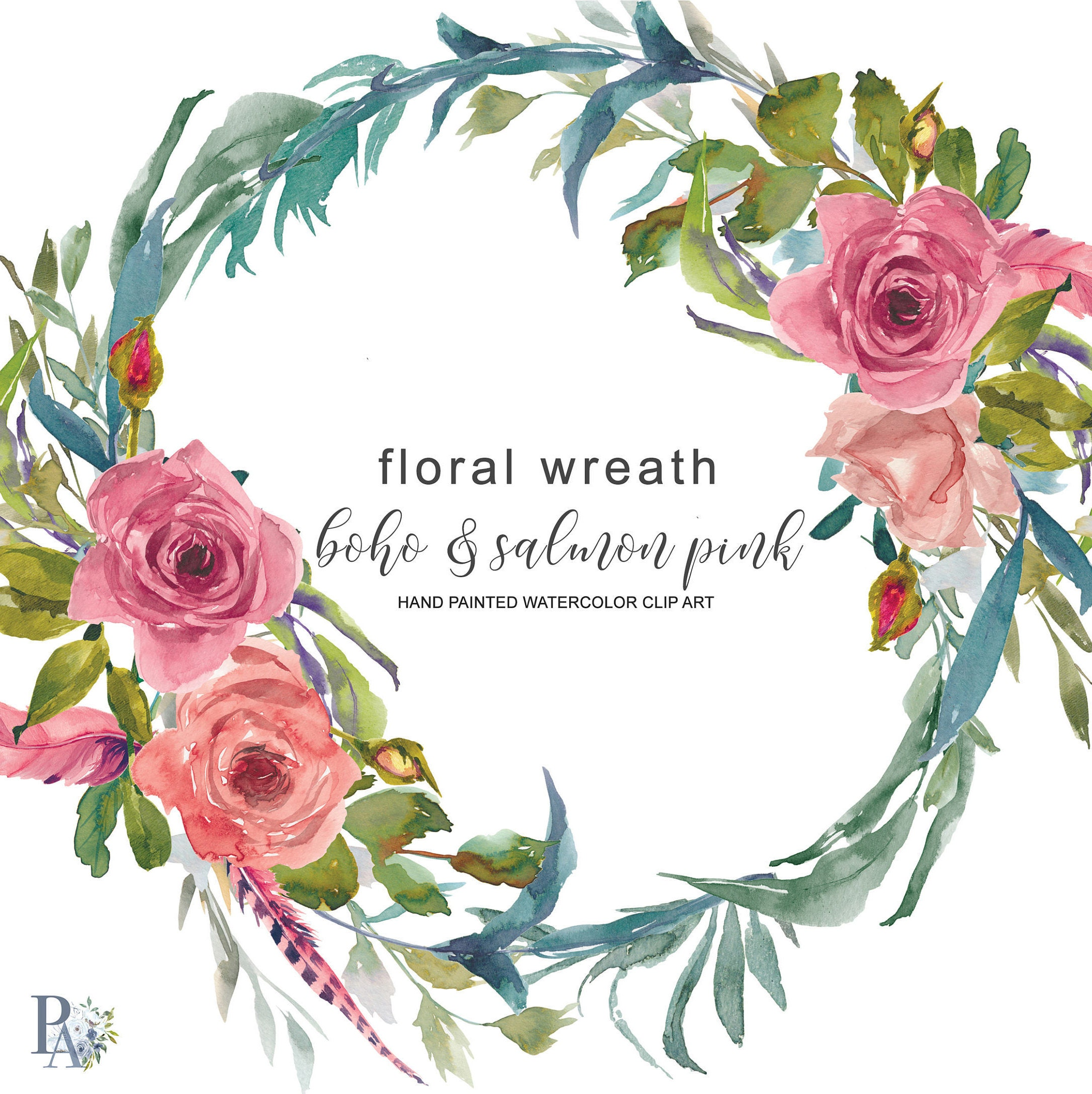 Watercolor Boho And Salmon Pink Flowers Wreath Floral Wreath Etsy