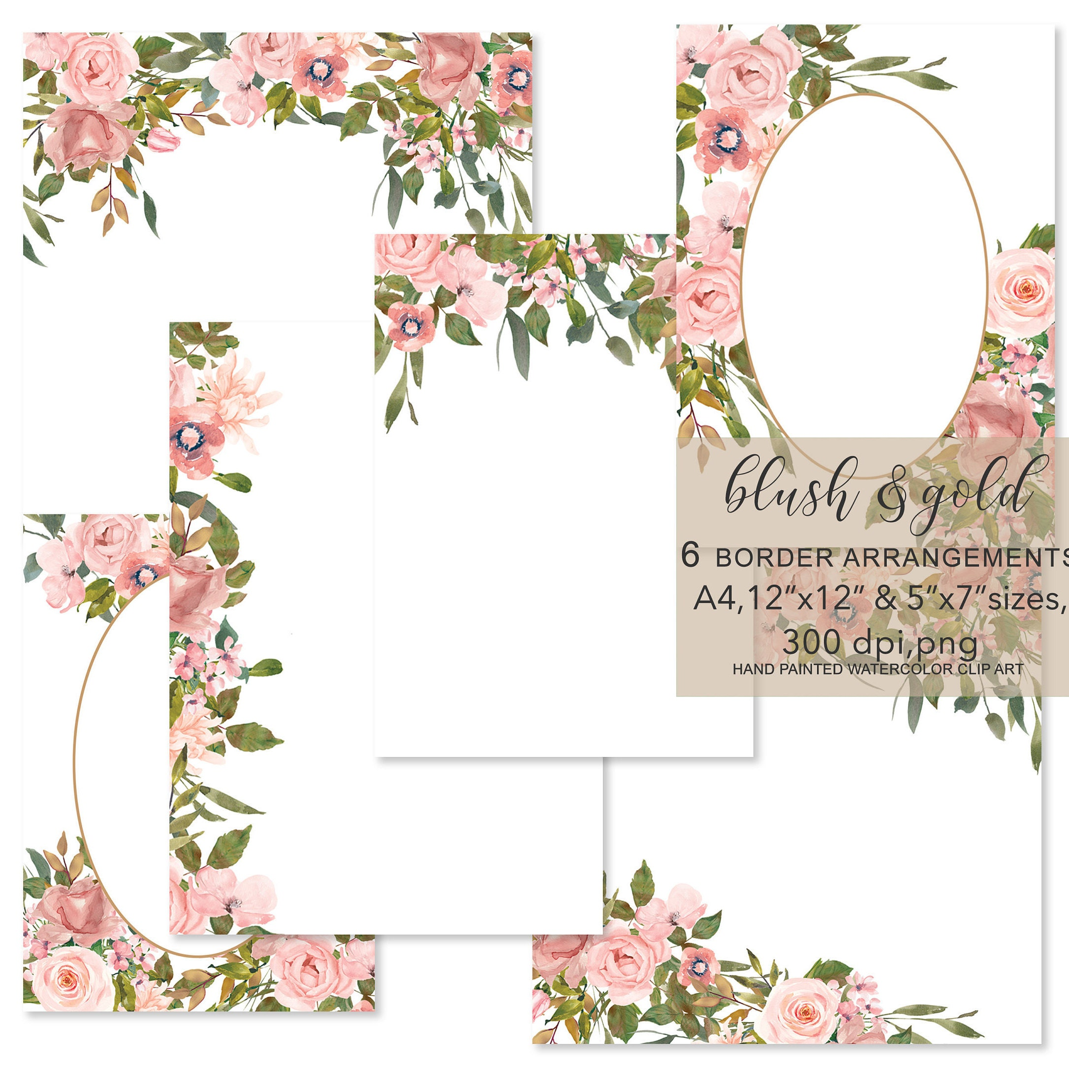 Watercolor Blush and Gold Flowers Foliage Frames ...