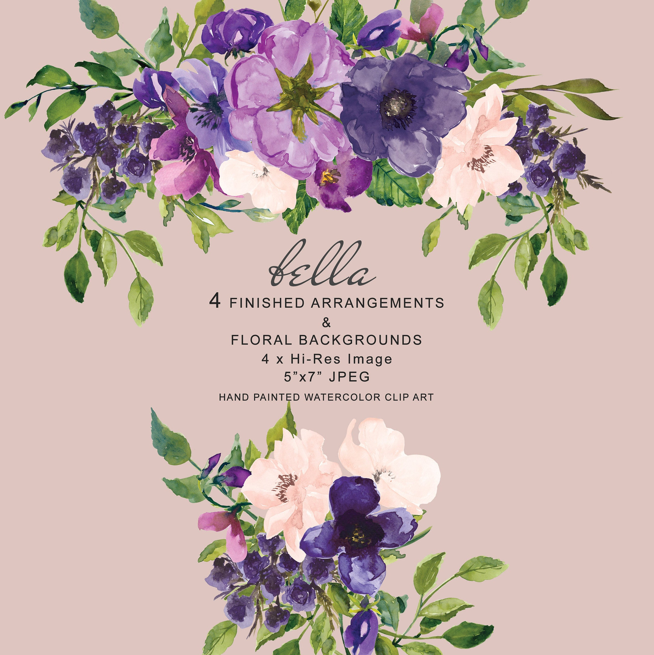 Watercolor Purple And Blush Pink Floral Arrangements Clipart Etsy