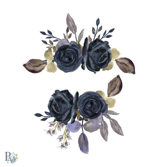Dipinto A Mano Rose Dellacquerello Nero Clipart Etsy
