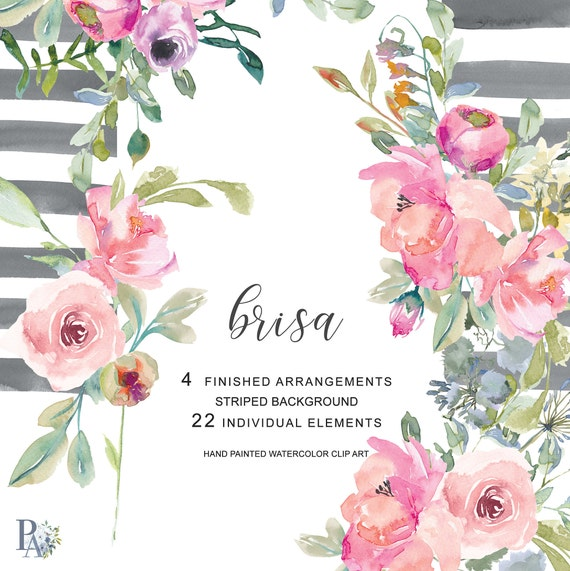 Hand Painted Watercolor Blush Pink Flowers Clip Art Bouquets Etsy