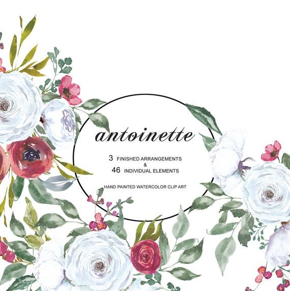 Aquarell Weiss Und Rot Rose Clip Art Weisse Blumenstrausse Etsy