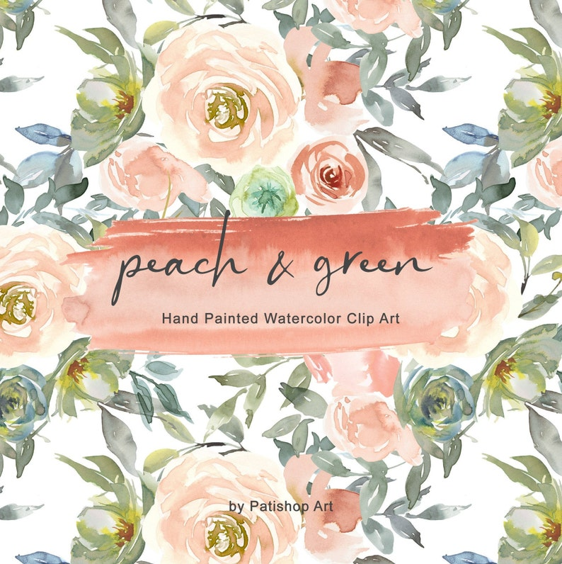 Peach and Green Floral Bouquet Clipart Watercolor Roses image 0