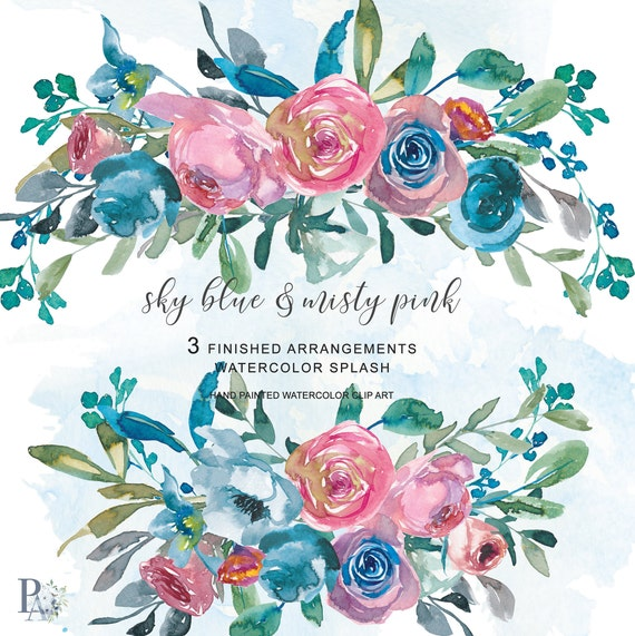 Ever* Watercolor Plum Violet Burgundy Red Flowers Clipart One Arrangement Hand Painted Flowers Clip Art PNG File Commercial Use #A12