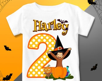 curious george birthday shirt halloween curious george t shirt halloween personalized curious george outfit party halloween pumpkin boo