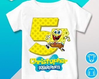 Spongebob Birthday Shirt T Personalized Outfit Party Squarepants