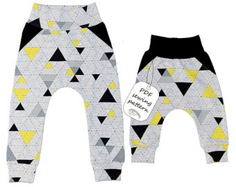 Baby harem pants with fake pockets pattern PDF, baby sewing patterns