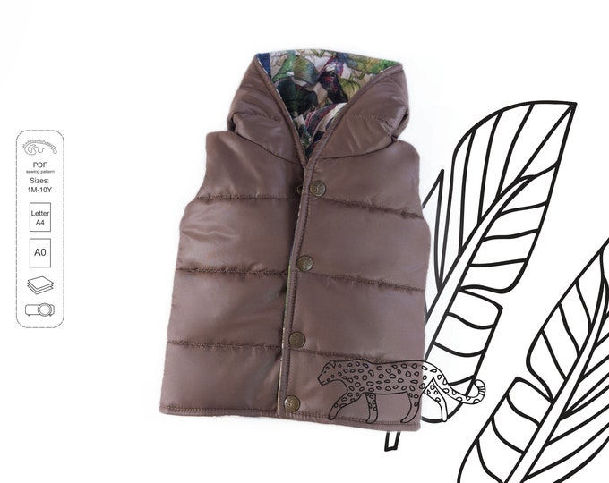 Featured listing image: Quilted Vest Sewing Pattern PDF, baby sewing patterns pdf, kids sewing pattern