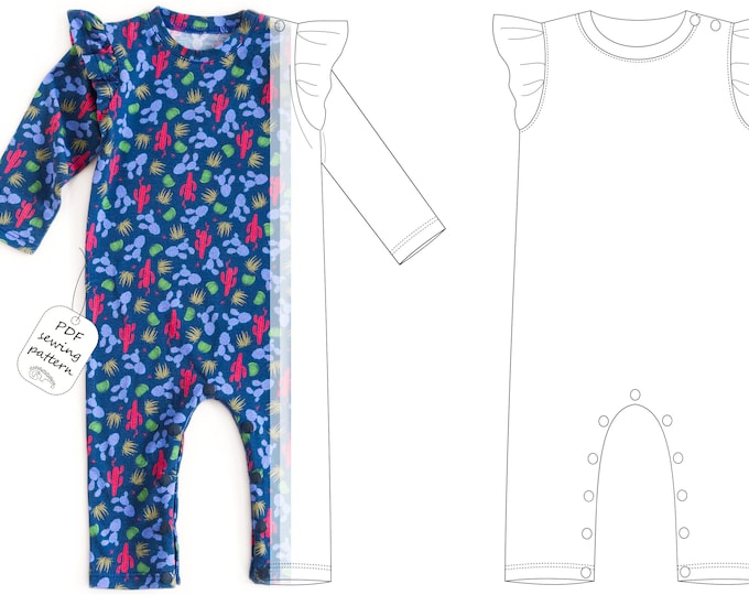 Featured listing image: Baby girl romper pattern, baby romper sewing pattern PDF, sewing patterns pdf