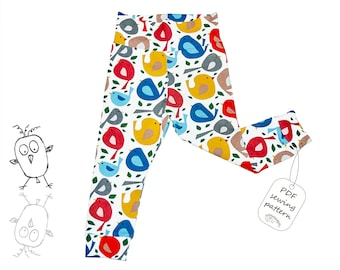 Leggings pattern PDF, baby sewing patterns pdf, girls sewing patterns pdf