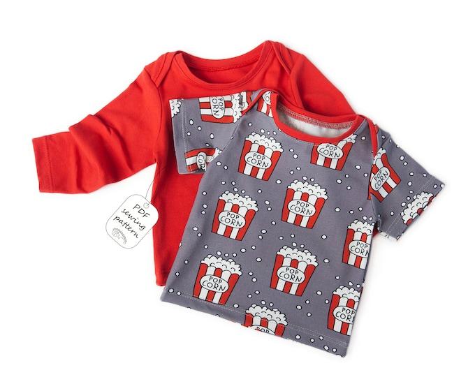 Featured listing image: Baby t-shirt pattern pdf, lap tee pattern