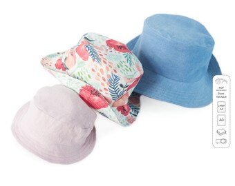 Sewing patterns and tutorials -  sun hat PDF pattern from 1 month up to adult sizes