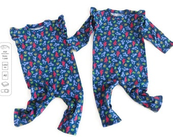Baby girl romper pattern, baby romper sewing pattern PDF, sewing patterns pdf