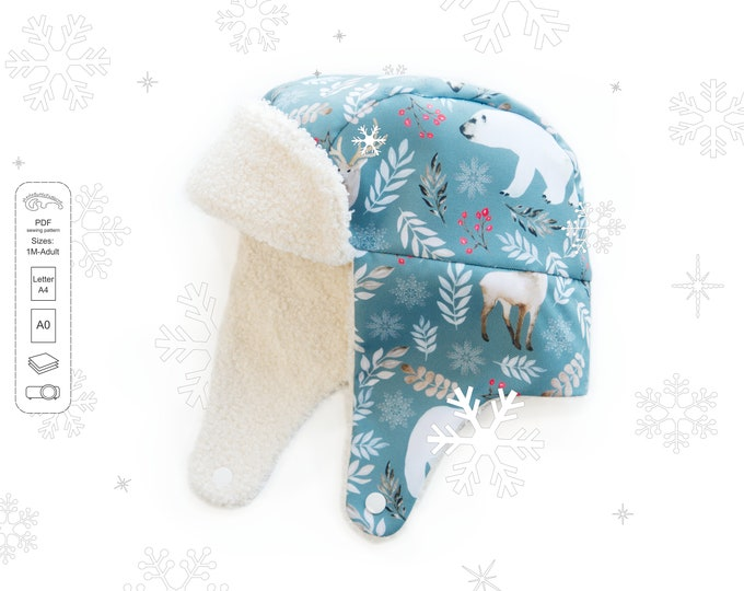 Featured listing image: Sewing patterns and tutorials -  trapper hat PDF pattern from 1 month up to adult sizes