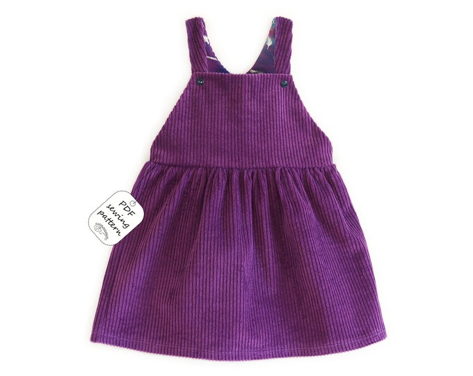 Featured listing image: Dungaree skirt sewing pattern PDF frrom 1 month to 10 years