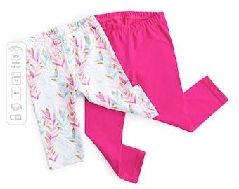 Baby and kids leggings sewing pattern PDF download, kids sewing patterns, girls sewing patterns